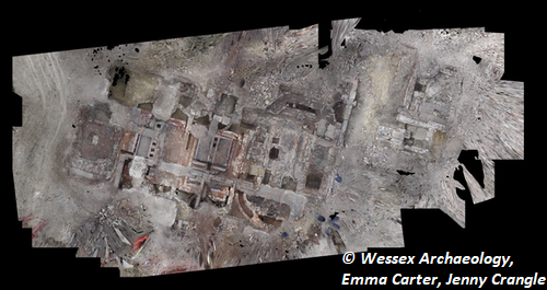 Orthophoto collage of Hollis Croft excavation. Copyright: Wessex Archaeology, Emma Carter, Jenny Crangle