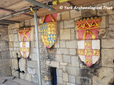 Three coats of arms on south west façade of Micklegate Bar. Copyright: York Archaeological Trust