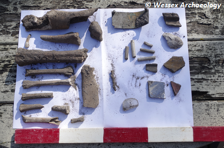 Recording shot of finds from planter dig. 1x0.5m scale. Plate 15 of report, Ref: 217970.02. Copyright: Wessex Archaeology