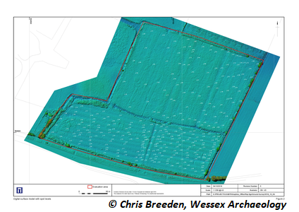 Digital surface model with spot levels . Copyright: Chris Breeden, Wessex Archaeology