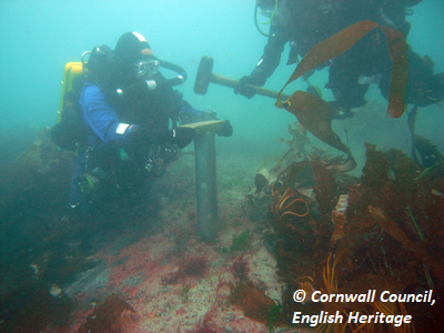 CISMAS Divers taking a core sample from an extensive submerged peat deosit in Isles of Scilly. Copyright: Cornwall Council, English Heritage