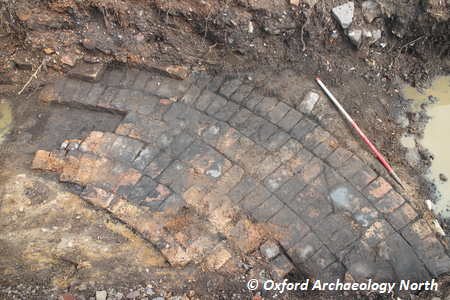 Trench 6 - Oven at south end of Former Stanley Potteries. 1m scale. Copyright: Oxford Archaeology North