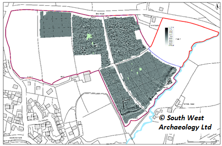 Greyscale shade plot of gradiometer survey data; gradiated shading. Copyright: South West Archaeology Ltd