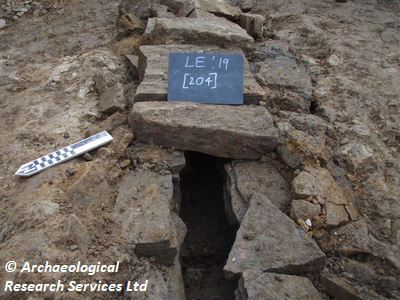 NW facing section of culvert  at Longshaw Estate, Derbyshire. Copyright: Archaeological Research Services Ltd