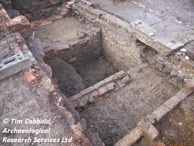 Photograph depicting the depth of the cellar in the domestic property on Sidney Street, Sheffield. Copyright: Tim Cobbold, Archaeological Research Services Ltd