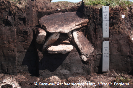 Monolith tins and cist. Copyright: Cornwall Archaeological Unit, Historic England